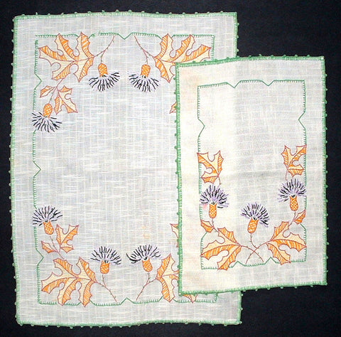English Purple Thistles Linen Doily Set 4 Hand Embroidered 1930s Towels