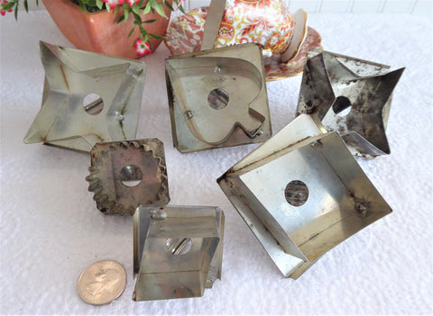 Tin Cookie Cutters Nickel Vintage Set Of 6 Diamond Star Spade Strap Biscuit