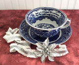 Auld Lang Syne Blue Transferware Breakfast Size Cup And Saucer 1930s British Anchor