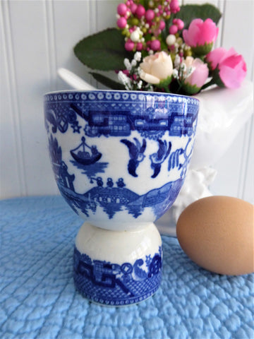 Blue Willow Eggcup Double Blue Transferware 1930s Blue White Birds Pagoda Bridge