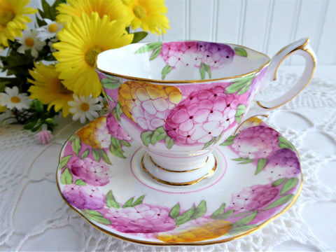 Lovely Royal Albert Crown Candy Tuft Cup and Saucer 1930s Hand Colored Enamel