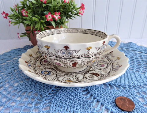 Spode Copeland Florence Breakfast Size Cup And Saucer 1930s Cream Ware England