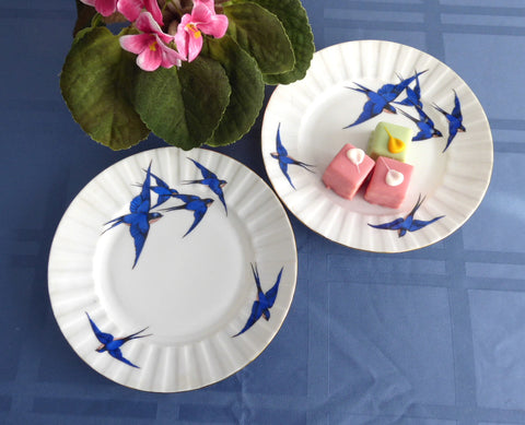 Blue Bird Plates Bluebird Pair 6.5 Inch Cake Czechoslovakia Bread Side Plates 1930s