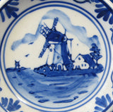 Delfts Butter Pat Dish Teabag Holder Delft Windmill 1930s Blue And White