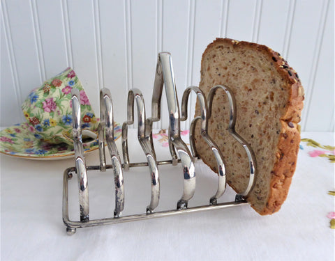 English Toast Rack Gothic 1930s Silver Plated 6 Slice Toast Holder Letters Tea Party