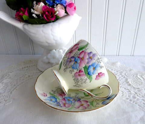 Hand Colored Floral Cup And Saucer Foley Art Deco 1930s Delicate Pretty