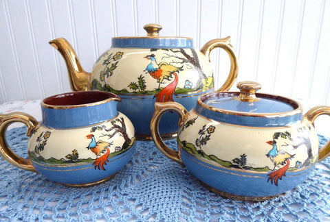 Fantasy Birds Teaset Art Deco Teapot Cream And Sugar Gibsons 1930s Tea Party