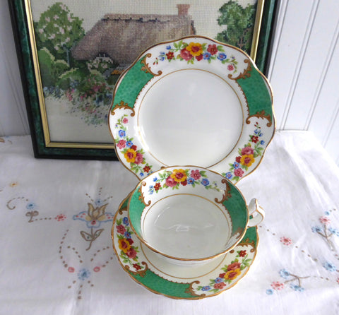 Cup And Saucer And Plate Allertons Green Georgian 1930s Tea Cup Trio