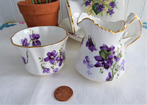 Hammersley Victorian Violets Cream And Sugar 1930s Small Fancy English Bone China