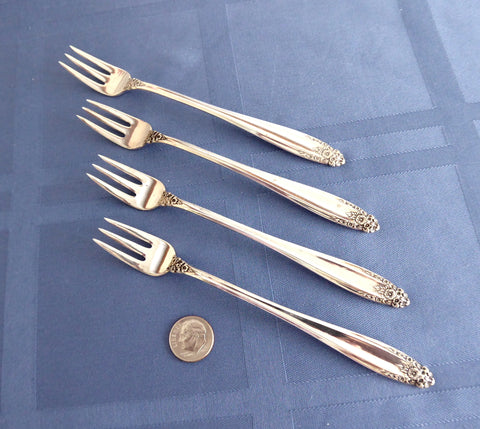 Set Sterling Silver Cocktail Seafood Forks 4 International Prelude 1930s No Monograms