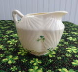 Irish Belleek Seashell Cream Jug Harp Shamrock Creamer 1930s 2nd Green Mark