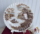 Johnson Brothers Happy England Luncheon Plate English Made 1940s Brown Transferware
