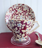 Art Deco Royal Brocade Chintz Cup And Saucer 1930s Nelson Red Blue Gold