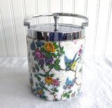 Biscuit Barrel Birds Chintz Midwinter England Lorna Doone Cookie Jar 1930s Chrome