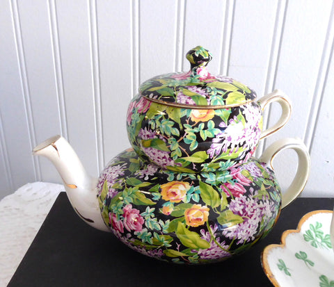 Teapot Tea For One Black Beauty Chintz Nelson Stacking 1930s Tea Pot