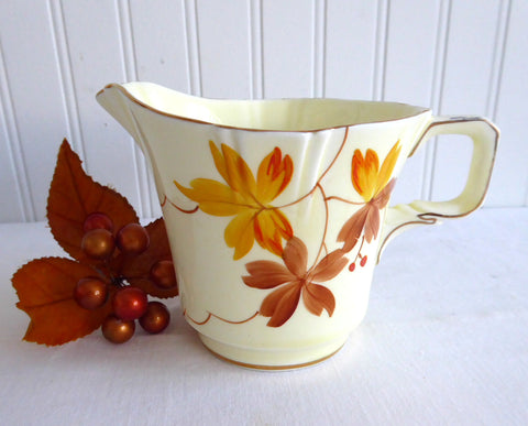 Paragon Creamer Cream Jug Art Deco Hand Painted Autumn Leaves 1930s Pale Yellow