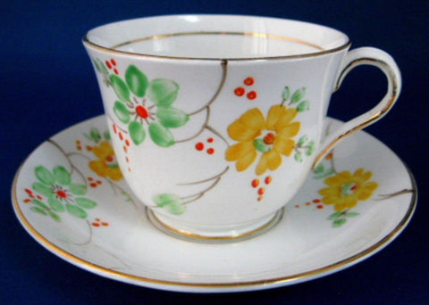 Cup And Saucer Phoenix Art Deco Hand Painted Enamel Blossoms 1930s