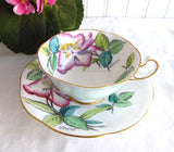 Rosina Lilies Cup And Saucer Artist Signed Bentley Hand Colored 1930s Pale Blue