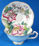 Rosina Artist Signed Lilies Cup And Saucer Hand Colored 1930s Blue Exterior