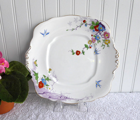 Royal Albert Cake Plate Art Deco Dovecot Birds 1930s Cake Server Hand Painted On Transfer