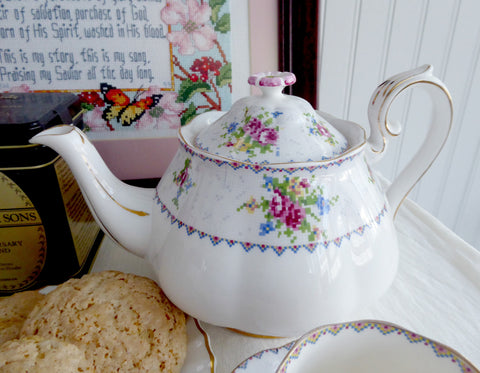 Royal Albert Petit Point Teapot 1930s Floral Cross Stitch Flower Finial Large English
