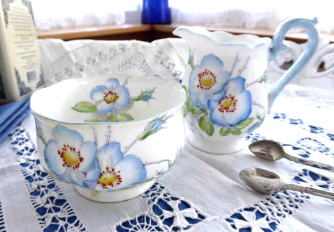 Royal Albert Wild Rose Cream And Sugar Blue 1930s Mottled Blue Trim