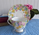 Art Deco Royal Albert Floral Enamel Dots Tea Cup And Saucer Hand Colored On Transfer 1930s
