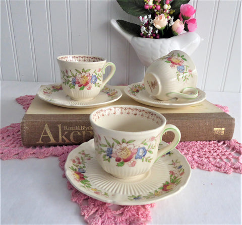 3 Royal Doulton Medford Demitasse Cups And Saucers Creamware 1930s Hand Colored