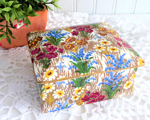Vintage Royal Winton Marguerite Chintz Covered Box 1930s Box Grimwades