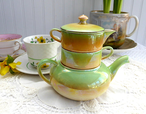 Teapot Royal Winton Grimwades Stacking Luster Ware 4 Pc 1940s Peach to Green