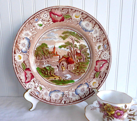 Rural England Polychrome Transferware Charger 1930s Midwinter 11 Inch Plate