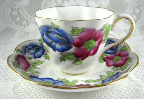 Iceland Poppy Cup and Saucer Hand Colored Blue Magenta 1940 Salisbury England