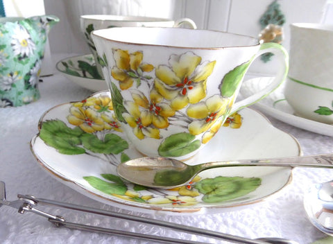 Cup And Saucer Salisbury Geranium 1930s English Bone China Teacup