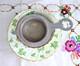 4 Leaf Clover German Tea Strainer Pierced Shamrock Handle Aluminum 1930s Good Luck
