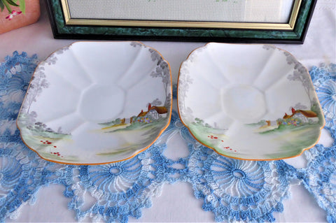 Shelley Cottage 2 Saucer Only Pair Queen Anne Square Paneled Art Deco 1928