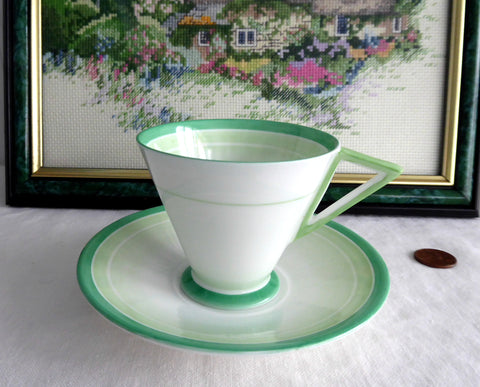 Shelley Eve Shape Art Deco Cup And Saucer Green Bands And Shades 1930s Demitasse