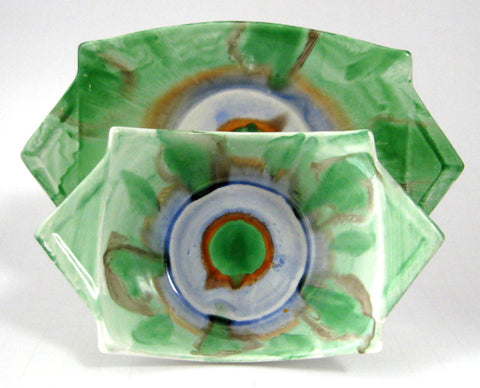 Shelley England Art Deco Harmony Dripware Jam Dish And Plate 1930s Vogue Mod Green