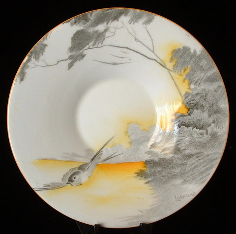 Shelley Art Deco Saucer Lakeland Bird Yellow 1930s Landscape Regent Shape Demi