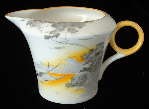 Shelley Art Deco Lakeland Creamer Cream 1930s Landscape Bird Regent Shape Demi