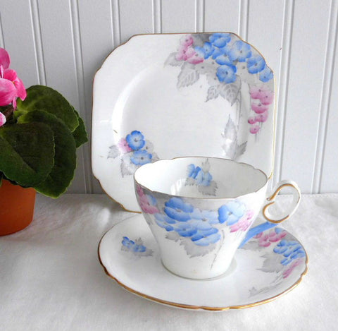 Shelley Phlox Cambridge Teacup Trio Art Deco England 1930s Blue Pink Grey Art Deco