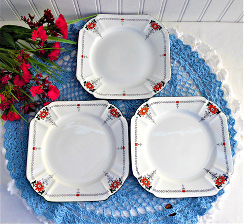 Shelley Red Daisy 3 Side Plates Bread Queen Anne Square Art Deco Plate 1930s