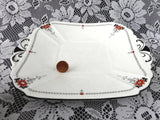 Shelley Queen Anne Red Daisy Cake Plate Server Art Deco Plate 1930s