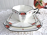 Shelley Daisy Teacup Trio Red Enamel Queen Anne Paneled Art Deco 1920s Teatime