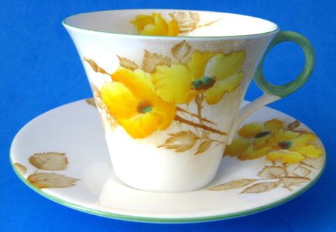 Shelley Cup And Saucer Yellow Dog Roses Regent Shape Art deco As Is