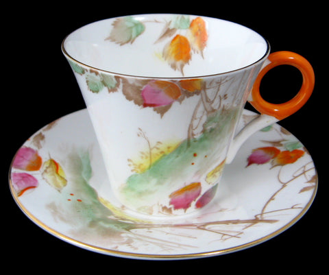 Shelley Art Deco Regent Tree On Hill With Leaves Cup And Saucer 1930s Demitasse