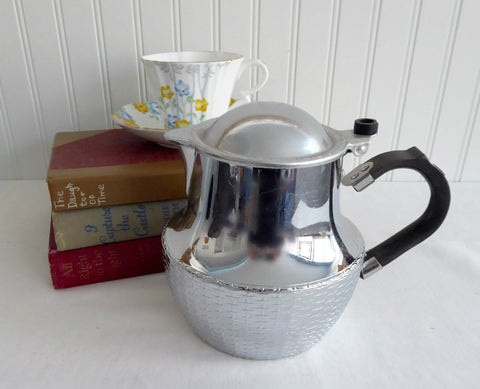 Chrome Bakelite Teapot Swan Early Wikka Ware 1930s Basketweave Base