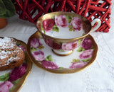 Teacup Trio Old English Rose Royal Albert Treasure Chest Series 1930s Sponged Gold