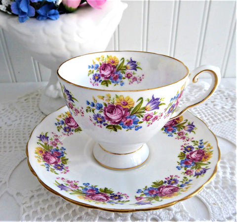 Pretty Flower Bouquets Cup And Saucer Tuscan England 1930s Rose Daisy Tulip