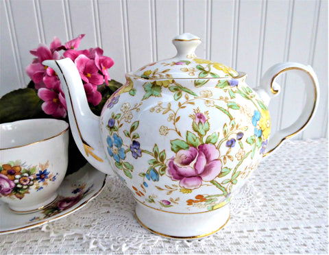 Lovely Floral Teapot Tuscan England 1940s Hand Colored On Transfer