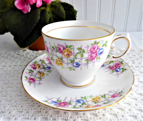 Multicolor Rose Trellis Cup And Saucer Tuscan England 1930s Pink Blue Yellow